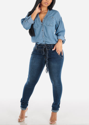 Image of Dark Wash Skinny Jeans w/ Braided Belt
