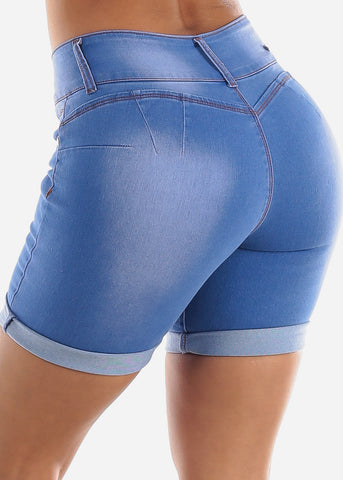 Image of High Waisted Butt Lifting Blue Denim Shorts