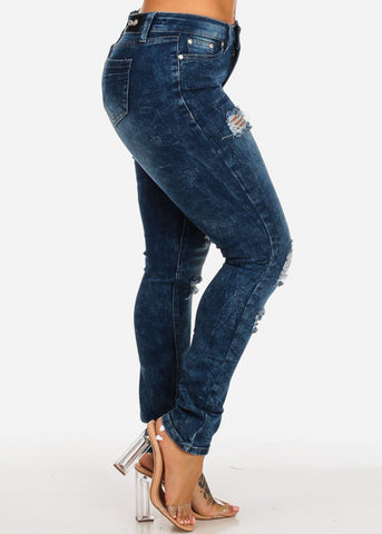 Image of Acid Wash Ripped Denim Skinny Jeans