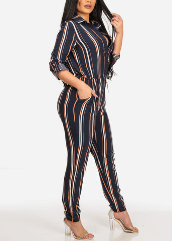 Image of Stylish Trendy Navy Stripe Going Out Lightweight Button Up Jumpsuit Jumper With Pockets
