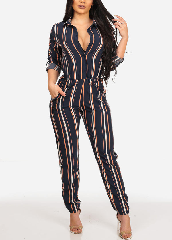 Stylish Trendy Navy Stripe Going Out Lightweight Button Up Jumpsuit Jumper With Pockets