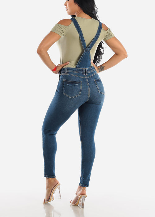 Med Wash Distressed Denim Overall