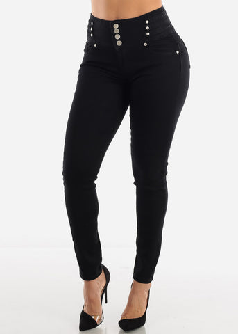 Black Wide Waist Butt Lift Jeans