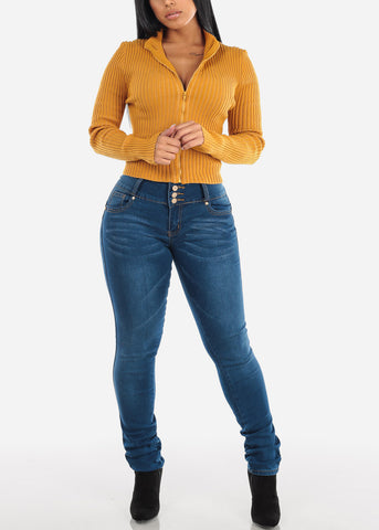Image of Medium Wash Butt Lifting Skinny Jeans
