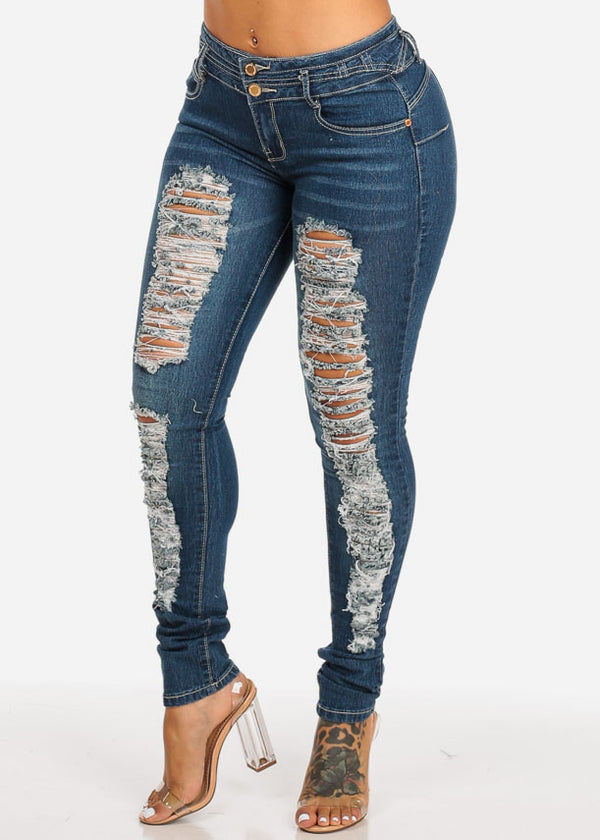 Butt Lift Ripped Waisted Skinny Jeans