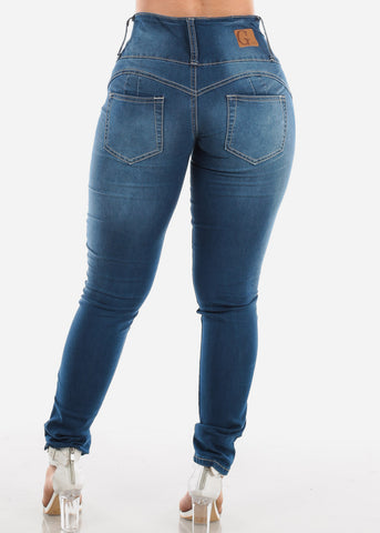 Image of Med Wash Butt Lifting Skinny Jeans