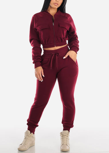 Burgundy Cropped Jacket & Jogger Pants (2 PCE SET)