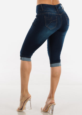 Image of Dark Wash Torn Butt Lifting Denim Capris