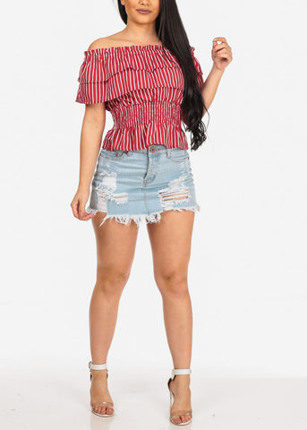 Image of Sexy Trendy Casual Summer Light Wash Distressed Denim Mini Skirt