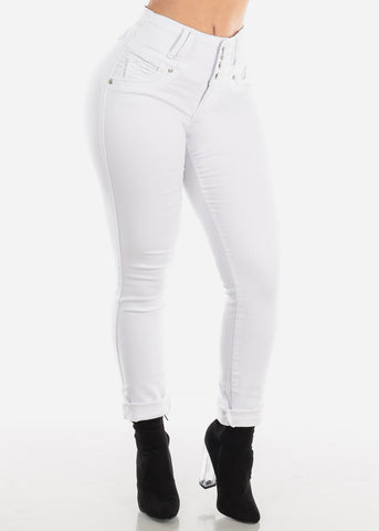 Image of Mid Rise White Butt Lifting Skinny Jeans