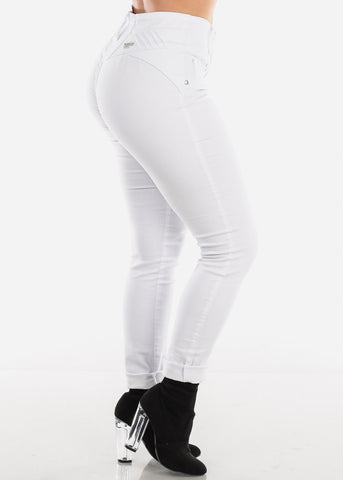 Mid Rise White Butt Lifting Skinny Jeans