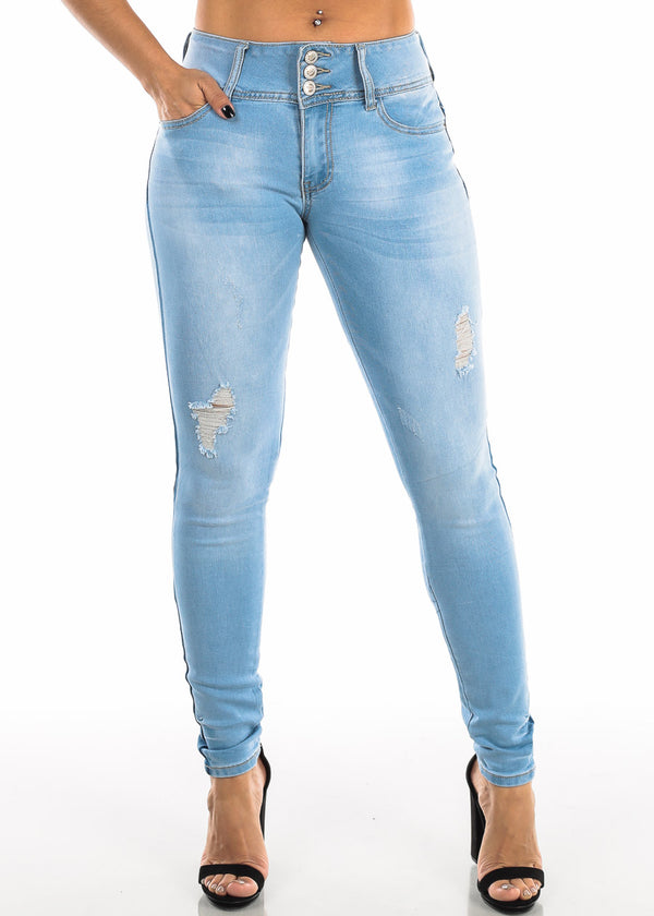 Light Wash Torn Butt Lifting Skinny Jeans