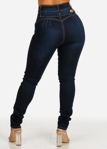 Ultra High Waisted Butt Lift Denim Blue Jeans