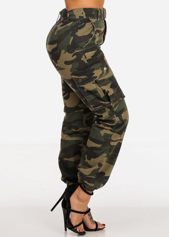 Image of High Rise Cargo Style Camo Print Jogger Pants W Belt