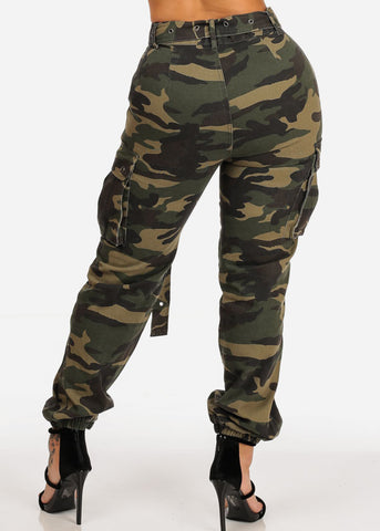 Image of Camo Print Jogger Pants W Belt