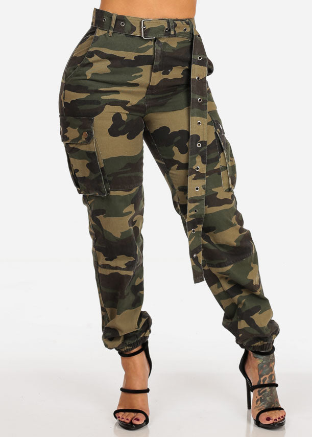 High Rise Cargo Style Camo Print Jogger Pants W Belt