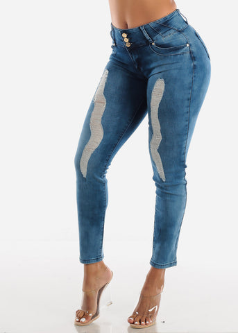 Med Wash Butt Lifting Torn Skinny Jeans