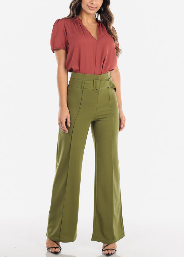 Olive High Waisted Palazzo Trousers With Belt