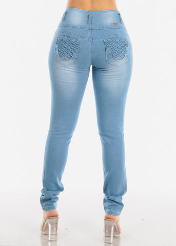 Image of Butt lifting Light Blue Wash Skinny Jeans