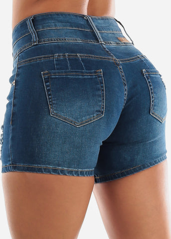 Med Wash Butt Lifting Torn Denim Shorts