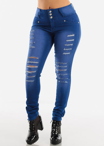 Image of Blue Wash Levanta Cola Torn Skinny Jeans