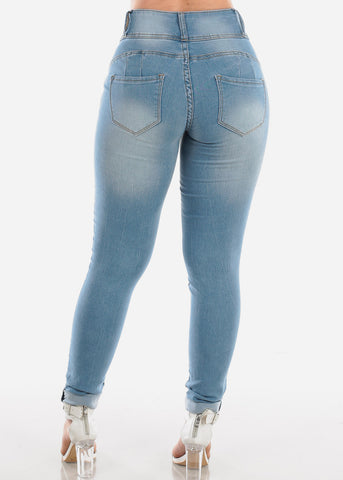 Image of High Waisted Butt Lifting Levanta Cola Colombian Design 3 Button Light Wash Skinny Jeans For Women Ladies Junior