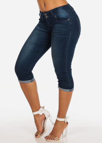 Women's Junior Summer 2 Button Stylish Stretchy Dark Wash Booty Lifting Levanta Cola Cuffed Denim Capri