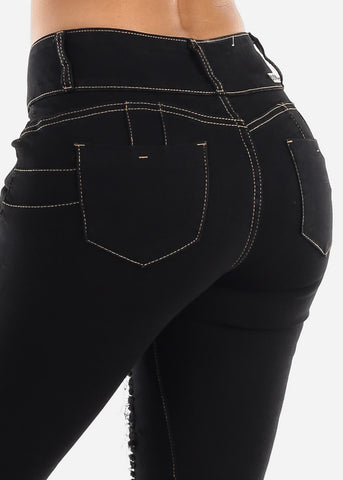 Levanta Cola Black Torn Denim Capris
