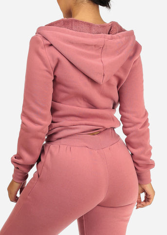 Image of Cozy Pink Sweater W Fuzzy Hoodie
