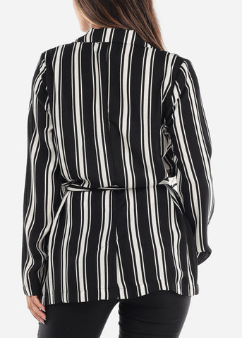Image of White Stripe Belted Blazer