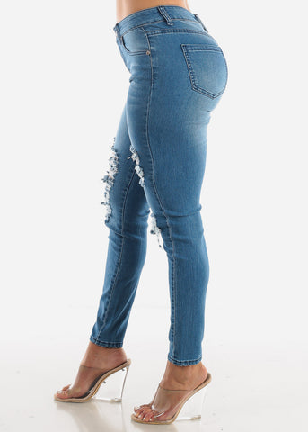 High Rise Ripped Ankle Jeans