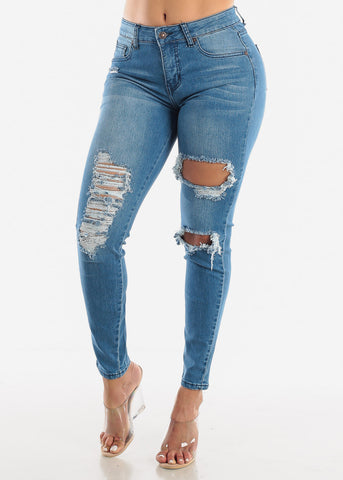 Image of High Rise Ripped Ankle Jeans
