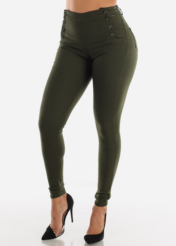 Image of Button Up Dark Olive Jegging Skinny Pants