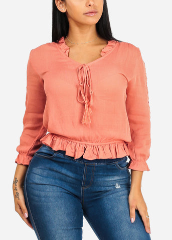 Lightweight Peach Ruffle Top