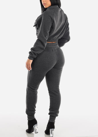 Charcoal Cropped Jacket & Jogger Pants (2 PCE SET)