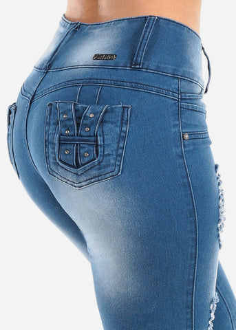 Sexy Butt Lifting Levanta Cola Colombian Design 3 Button Med Wash Distressed Denim Capris For Women Ladies Junior