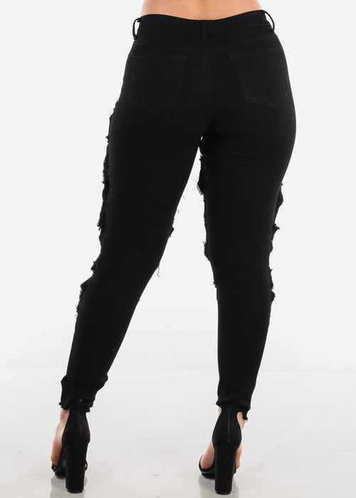 Low Rise Torn Fishnet Black Skinny Jeans