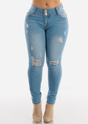 Light Blue Levanta Cola Torn Skinny Jeans