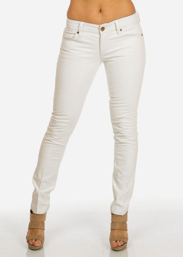 White Leather Front Pants