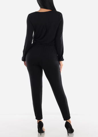Long Sleeve Drawstring Waist Jumpsuit