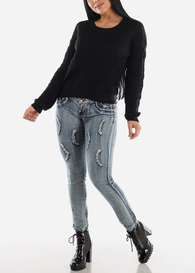 Mid Rise Butt Lifting Distressed Skinny Jeans