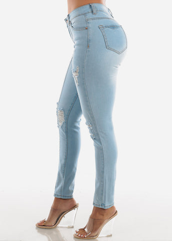 Image of Light Wash Distressed Vertical Seam Jeans