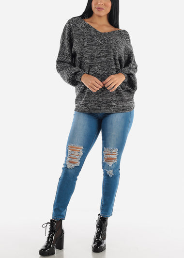 Blue High Waisted Distressed Skinny Jeans