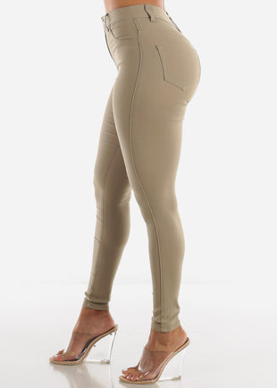 High Waisted Khaki Jegging Skinny Pants