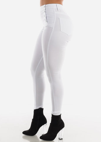 Image of Button Up White Jegging Skinny Pants