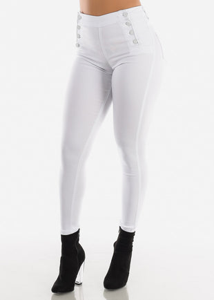 Button Up White Jegging Skinny Pants