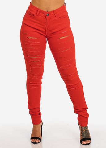 Butt Lifting Distressed Red Skinny Jeans