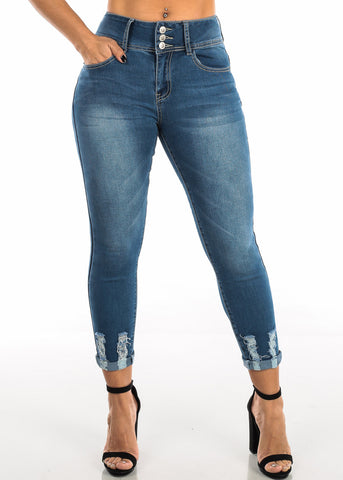 Raw Hem Butt Lifting Ankle Skinny Jeans