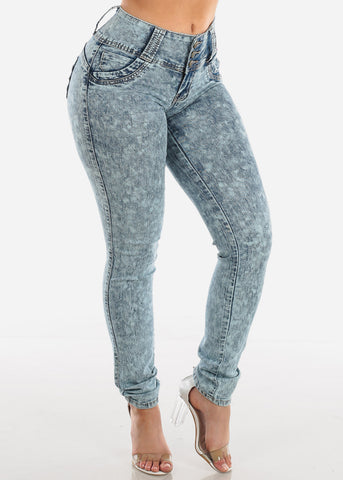 Image of Sexy Butt Lifting Levanta Cola Colombian Design 3 Button Low Rise Dark Marble Wash Skinny Jeans