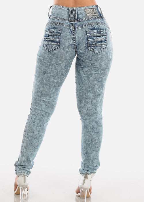 Sexy Butt Lifting Levanta Cola Colombian Design 3 Button Low Rise Dark Marble Wash Skinny Jeans